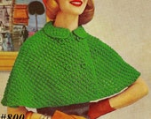 Vintage 1953 Short Puff Stitch Cape 800 PDF Digital Knit  Pattern