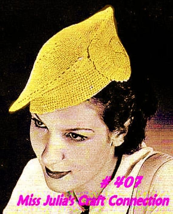 Almost FREE Vintage 1936 Lovely Leaf Beret 407  PDF Digital Crochet Pattern