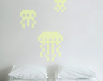 3 Jellyfish glow in the dark wall decal. Puxxle - The Pixel Puzzle