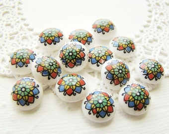 10mm Colorful Mosaic Floral Glass Stained Glass Decal - 4