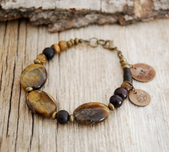 tiger's eye yoga bracelet with sat nam and lotus charms - yoga jewelry