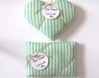 Hand Warmers - Choice of Hearts or Rectangles mint green striped