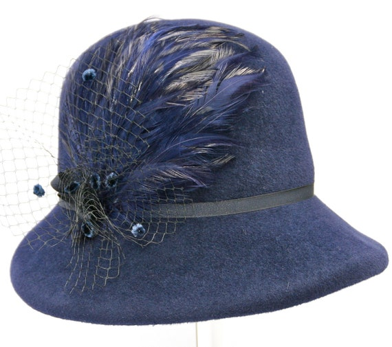 Navy Blue Women's Hat, Ladies Felt Winter Hat, 1920's Cloche, Gatsby