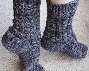 Sock Knitting PATTERN PDF, Knitted Socks Pattern - Ribbed Faux Cable Socks