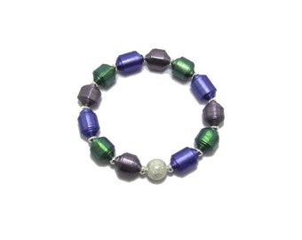 Bracelet, Paper Bead Bracelet, Handmade Beads, Paper Beads, Bead Bracelet, Beaded Bracelet