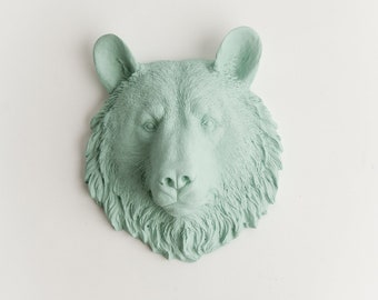 The Benzie Bear Wall Decor - 1 Seafoam Mini Faux Bear Head- Resin Animal Head Wall Mount - Chic Animal Wall Decor by White Faux Taxidermy