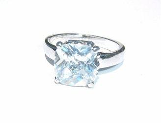 Princess Cut Faceted Cubic Zirconium Ring Prong Set