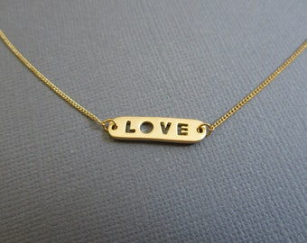 SALE - Love Necklace, Gold Bar Necklace, gift for her, dainty necklace, everyday necklace Wedding, Bridesmaid gifts.