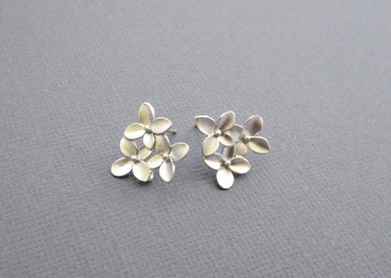 Cherry blossom Studs Earrings, silver earrings, stud earrings, cherry blossom jewelry, cherry blossom Jewelry