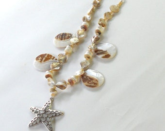 Seashell Starfish Necklace Beach Large Pendant Summer Statement Shells Resort Fashion Mother of Pearl Jewelry Free Shipping