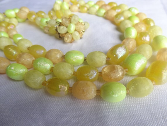 yellow vintage necklace antique jewelry yellow melon beads