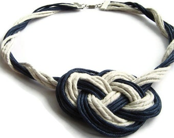 Nautical necklace, celtic knot, statement necklace, navy and white, gift for her, knot necklace, cord necklace, OOAK