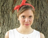 Tie up headscarf, headband, coral, yellow,green, burgundy, white choose your color, hair scarf,