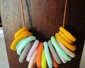 Multi-coloured ring stack necklace - colour option 1