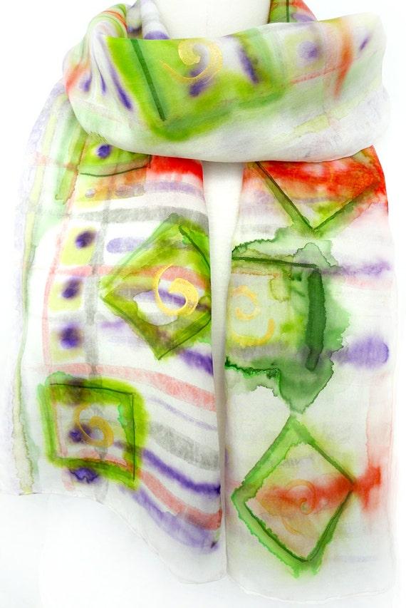 Faded Silk Scarf. Hand Painted Long Silk Scarf. Green Silk Scarf. Multicolor Silk Scarf. 8x72 in. (20x183cm). Ready to Ship.