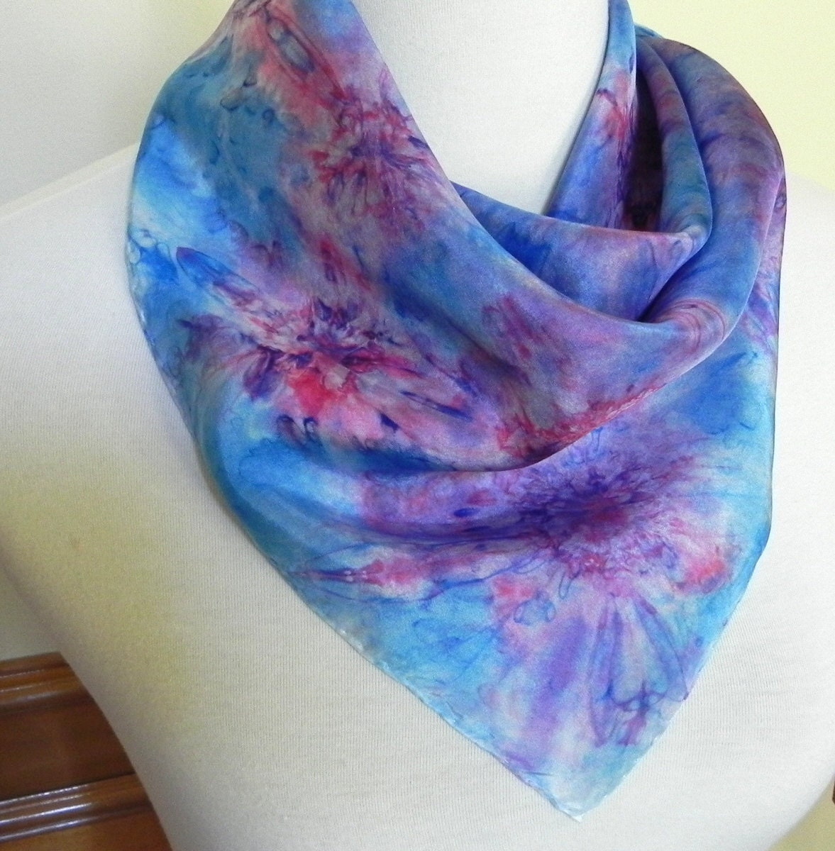 square silk scarf dyed blue and purple abstract 21