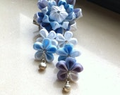 Kanzashi  Style Flower hair barrette blue chrysanthemum with flower pendant  both  for SD and human size
