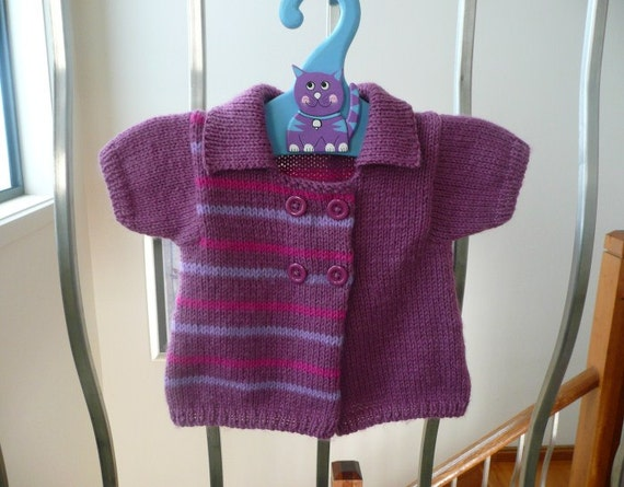 Handknitted short sleeved, bright striped baby cardigan, handknit for girl 2-6 months