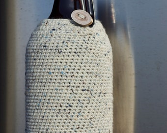 Winter White 64 oz Beer Growler Cozy in Birch Bark White Tweed Wool