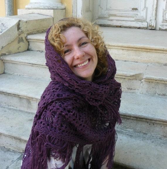 Crochet shawl, purple evening triangle scarf, holiday wrap, wedding lacy scarf