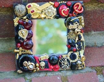 Handmade Goth  mirror, rockabilly, steamunk, skull  mosaic mirror, motorcycles
