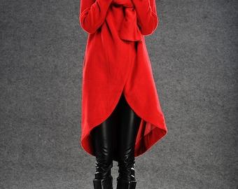 Red coat winter pea coat wool blend  red jacket (C021)