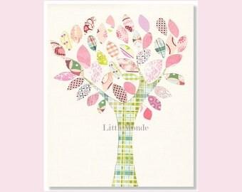 NURSERY ART PRINT, Nursery Tree, Personalized Nursery Print, Baby Girl Pastel Nursery Decor, Rose Nursery, Pink Nursery, Pastel Nursery