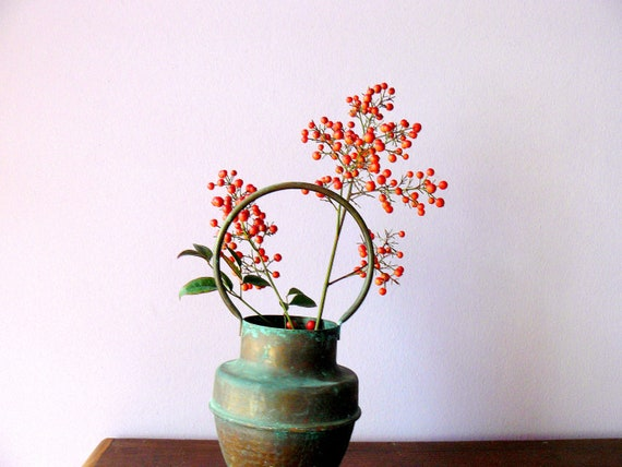 Vintage copper vase with holder. shabby chic vase. rustic decor