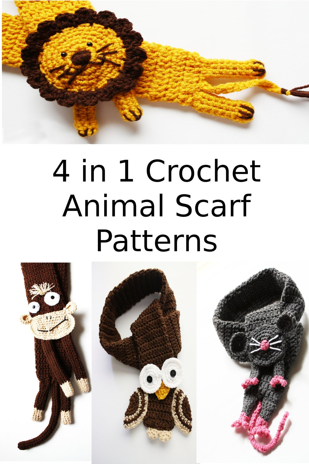 Free Crochet Patterns For Animal Scarves : Instant download 4 Crochet Animal Scarf Patterns in by ...