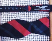 Vintage Hand-tie Style Bow Tie : Navy with Red and Green 1970s