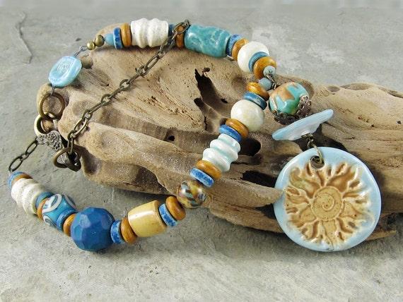 Sunshine Necklace Sun Handmade Ceramic Turquoise Gold OOAK Brass