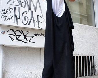 Loose Black  vest Top Exclusive Soft light Fabric  / Asymmetric  Vest / Extravagant Asymmetric Tunic  Top A02075