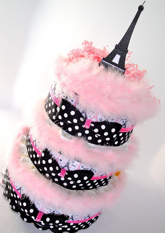 Eiffel Tower Diaper Cake | Ain't That Crafty | Pinterest ... |Eiffel Tower Diaper Cake