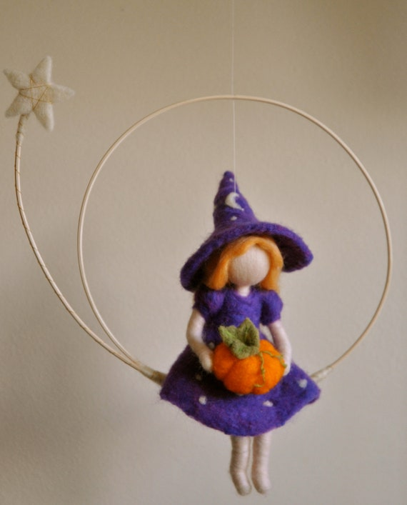 halloween decoration waldorf inspired needle felted witch. Black Bedroom Furniture Sets. Home Design Ideas