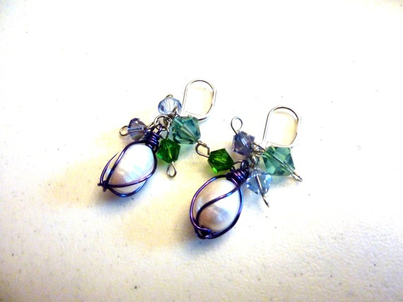Ivory Freshwater Pearls Wire Wrapped Purple Cluster Earrings With Multi Colour Swarovski Crystals