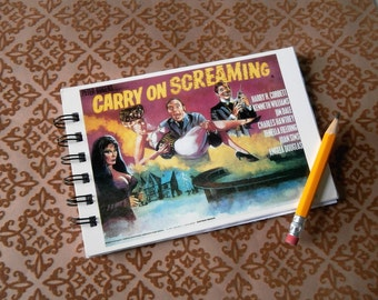 Upcycled Carry on Screaming Notebook Journal spiral bound postcard