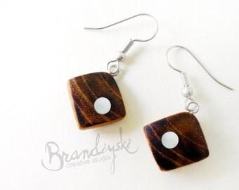 WOODEN EARRINGS - Original Handmade Wooden earrings - cherry wood and aluminum