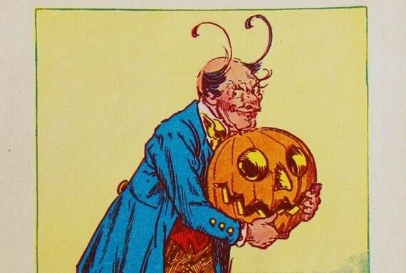 1939 Pumpkinhead and Sawhorse Oz Book Page - Original Color Lithograph - Pumpkin Halloween Print Ephemera, Wizard of Oz, Jack O Lantern