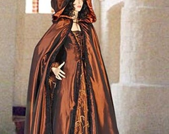 Renaissance Medieval Style Dress in Embroidered Taffeta, Veil Included, Multiple Colors Available