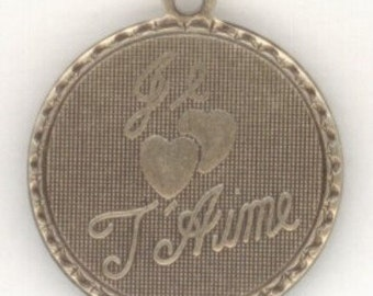 1 Round French Charm - Ox Silver - Je T'Aime - I Love You