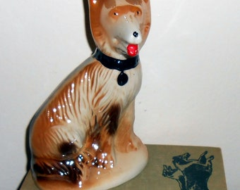 Vintage Figurine, Dog, German Shepherd, Porecelain, Glaze, Dogs, Collectibles