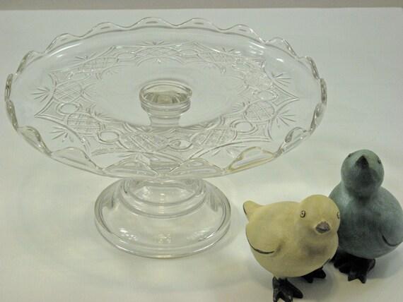 Vintage Cake stand round Glass pedestal scalloped edges Flower design