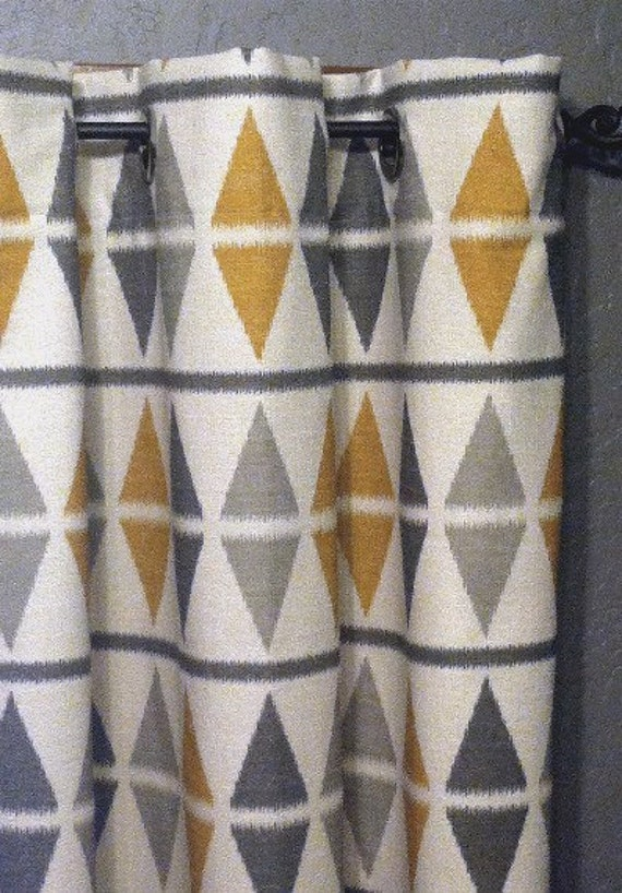 Items similar to 84 ikat curtains free shipping two - Mustard grey and white living room ...