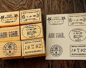 Vintage Postmark Stamp Set - Rubber Stamp Set - Deco Stamps - D