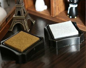 2 Pcs Ink Pads - Stamp pad - Stamp Ink - Golden and Silver