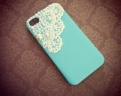 iPhone 5 Victorian Baby Blue Pearls and Lace case