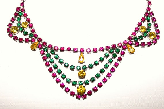 Upcycled 1950s Painted Rhinestone Chandelier-Style Pink, Green, and Yellow Necklace