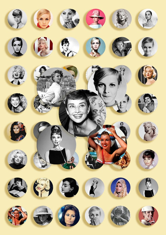Instant Download - Digital Collage Sheet - JP&PNG format - Audrey Hepburn,  Marilyn Monroe, Twiggy, Sophia Loren - 1 inch circles - 25 mm