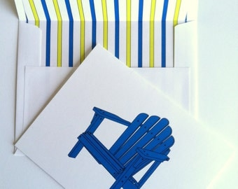 "Coastal Note Cards -Adirondack Chairs - Set of 10 Note Cards with coordinating ""Stripes"" lined envelopes"