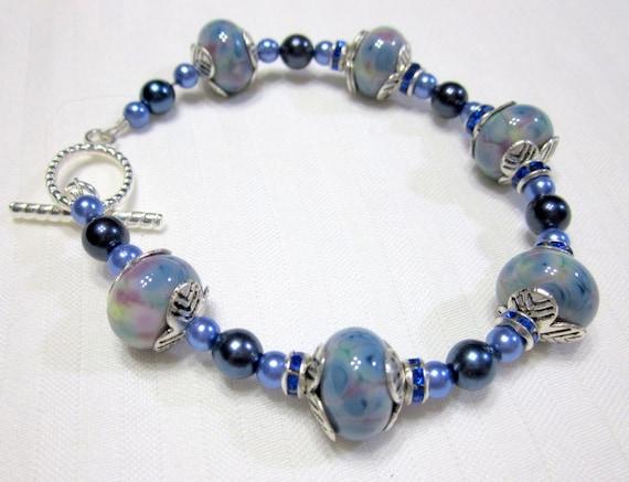 Blue Beaded Lampwork Bracelet, Fashion Jewelry, Gifts for Her, Lampwork Jewelry, Glass Beads Bracelet